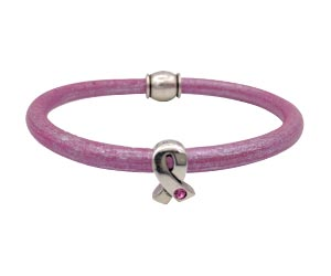 Simple leather breast cancer bracelet