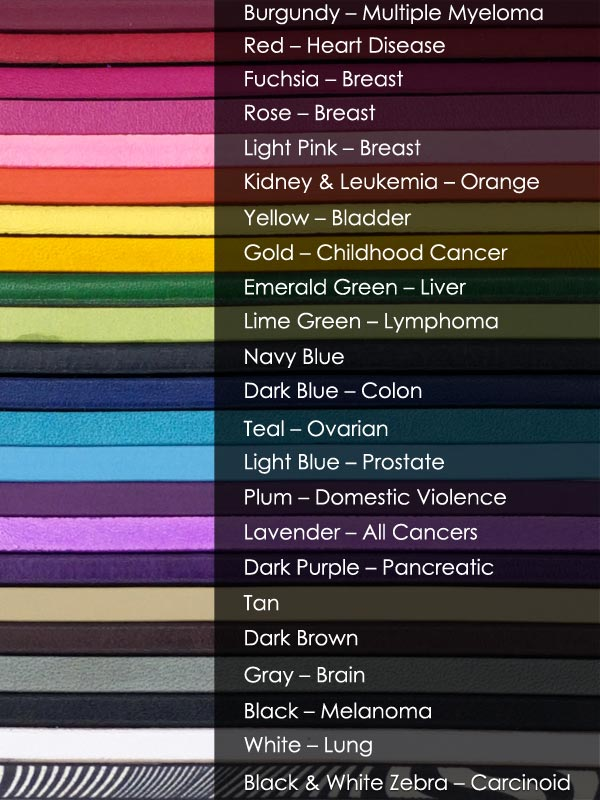 color options for cause bracelets