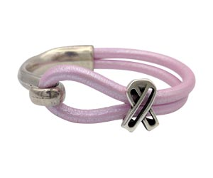 Silver half cuff hook bracelet with an open awareness ribbon