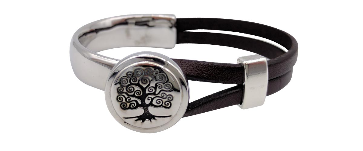 Tree of Life half cuff bracelet with a plain silver slider