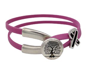 Tree of Life Wishbone Clasp Awareness Bracelet with an Open Awareness Ribbon