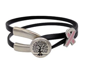 Tree of Life Wishbone Clasp Awareness Bracelet with a Pink Awareness Ribbon