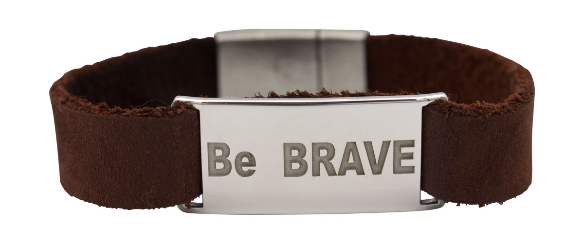 sterling silver and leather bracelet with Be Brave engraved