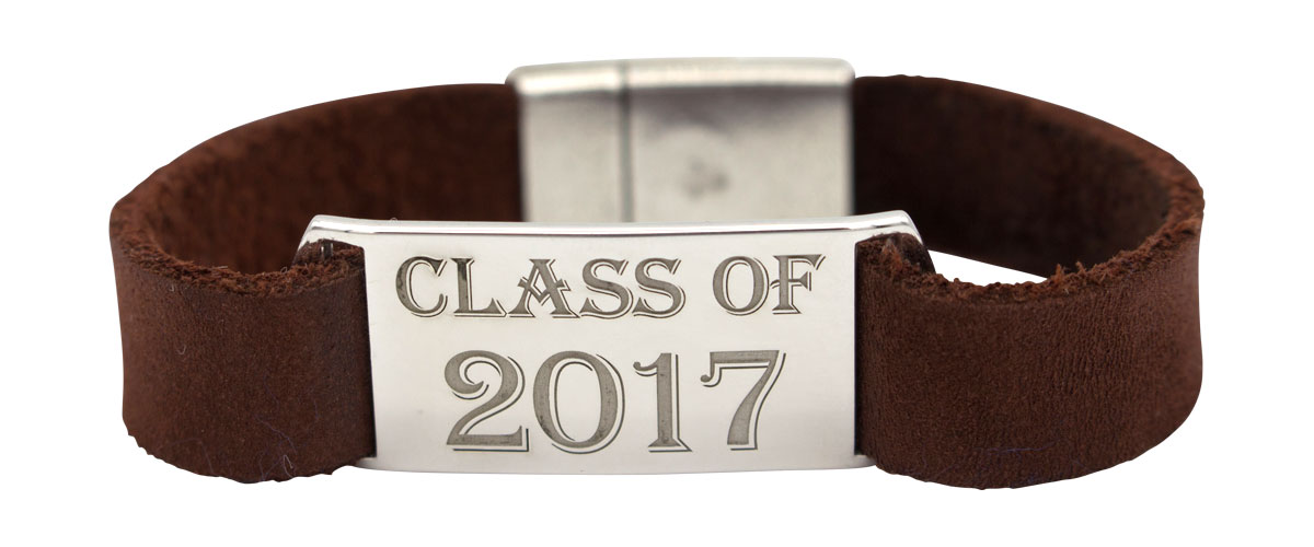 sterling silver and leather bracelet with 'Class of' engraved