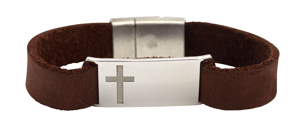 sterling silver and leather Cross bracelet