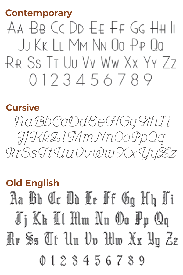 engraving font choices set 2