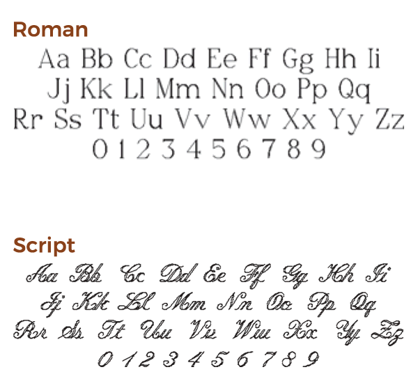 engraving font choices set 3