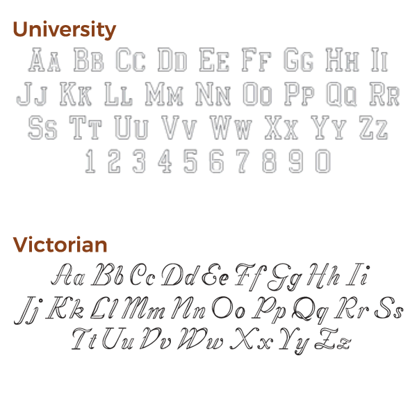 engraving font choices set 4