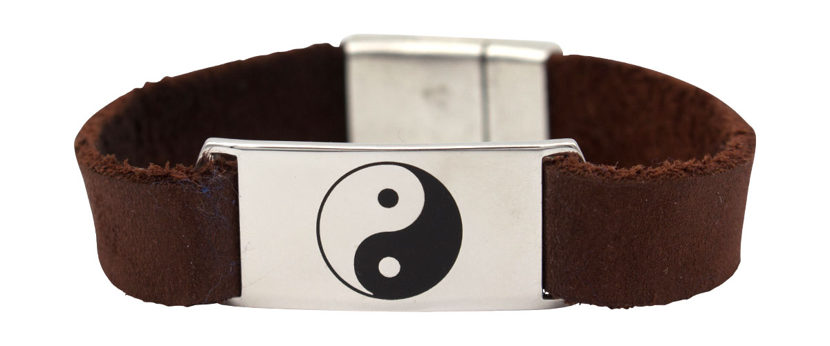sterling silver and leather bracelet with Yin-Yang symbol